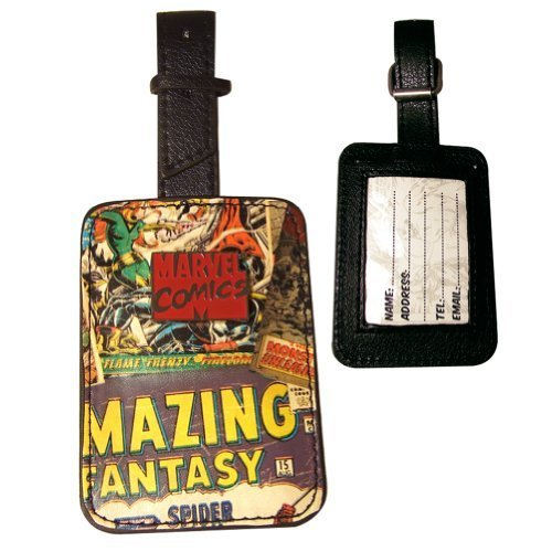 Marvel Comics Rectangular Luggage Tag with Zinc Alloy Badge - Official Licensed product by BB