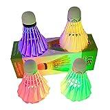 Aszune LED Badminton, Shuttlecocks Glow Lighting for Outdoor Indoor Sports Activities(4pcs)