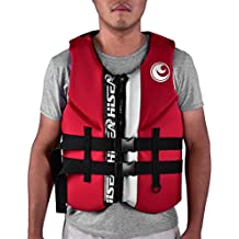 T-best Safety Life Jacket Life Vest Buoyancy Waistcoat Lifesaving Vest Multi-Sport Personal Flotation Device Red