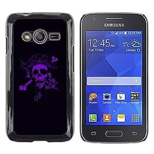 Be Good Phone Accessory // Dura Cáscara cubierta Protectora Caso Carcasa Funda de Protección para Samsung Galaxy Ace 4 G313 SM-G313F // Pirate Purple Black Scary Captain