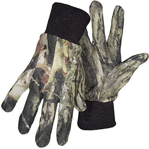 6 Pack Boss 4200MO Mossy Oak Break-Up Jersey Gloves with Knit Wrist - Large