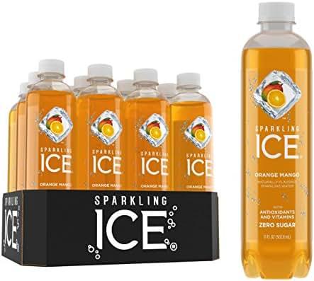 Sparkling Ice, Orange MangoSparkling Water, with antioxidants and vitamins, Zero Sugar, 17 FL OZ Bottles (Pack of 12)