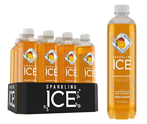 Sparkling Ice Orange Mango Sparkling Water, with Antioxidants and Vitamins, Zero Sugar, 17 Ounce Bottles (Pack of 12)
