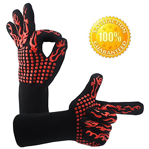 BBQ Cooking Tool Set Heat Resistant nonslip Gloves- DWG Silicone Oven Mitts Handguard Grill Gloves for Cooking, Grilling,Fireplace and Oven, Including Sharp Shredder Claws and Silicone Basting Brush