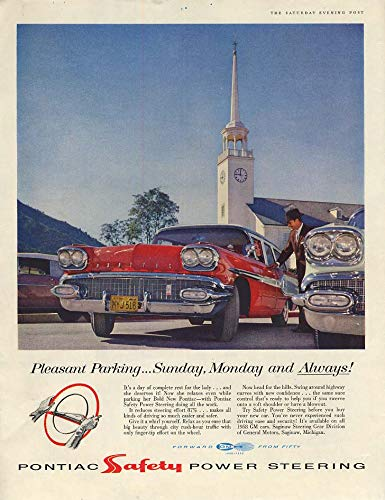(Pleasant Parking Sunday Monday & Always! Pontiac Station Wagon ad 1958)