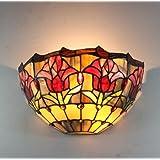 Broncos 12 pouces Vintage Pastoral Vitrail Tiffany Fleur Applique Couloir Applique murale Lampe Mobilier