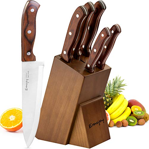 Kitchen Knife Set, 6-Piece Knife Block Set, Wooden Handle Knife Set with Block, Stainless Steel Chef Knife Set with Pakkawood Handle, by -