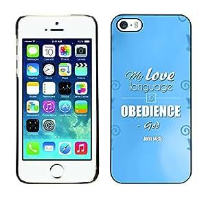 Paccase / Dura PC Caso Funda Carcasa de Protección para - BIBLE My Love Language Is Obedience - John 14:15 - Apple Iphone 5 / 5S
