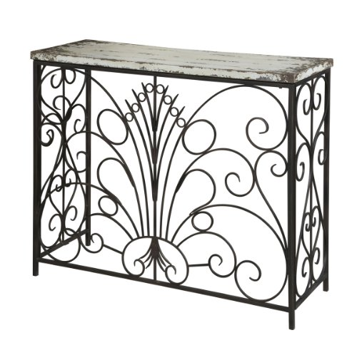 FurnitureMaxx Antique White Metal and Wood Console Table