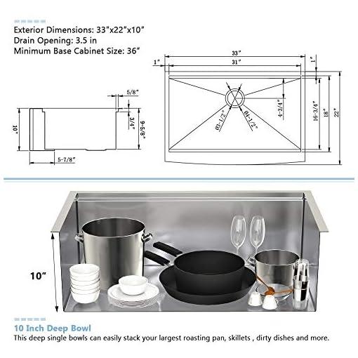 Farmhouse Kitchen 33 Farmhouse Sink Stainless – VASOYO 33×22 Stainless Steel Farmhouse Apron Front Workstation Kitchen Sink 16 Gauge Deep… farmhouse kitchen sinks