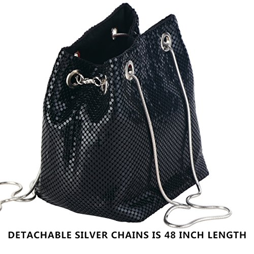 Evening Handbags Clutch bag Bucket Metal Women Bag Purses Black crossbody Mail Mesh Shoulder Chain Bags Mesh for 0np6HqO7q