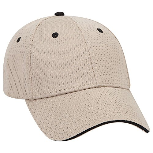 esh Sandwich Visor 6 Panel Low Profile Baseball Cap - KHA/KHA/Blk ()
