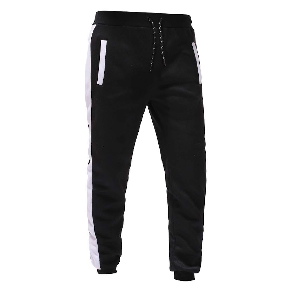 YUNY Mens Cozy Pockets Drawstring Loose Splicing Sport Pants White S