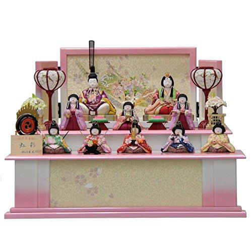雛人形 収納飾り木目込み十人揃 虹彩228 幅52cm 3mk41 柿沼東光 ピンクのお雛様   B075GG9Q6P