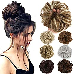 Lelinta Hair Bun Extensions Wavy Curly Messy Hair Extensions Donut Hair Chignons Hair Piece Wig Hairpiece Natural Black