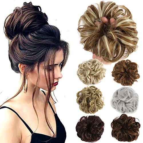 Hair Bun Extensions Wavy Curly Messy Hair Extensions Donut Hair Chignons Hair Piece Wig Hairpiece (Dark Real Hair Extensions Blonde)