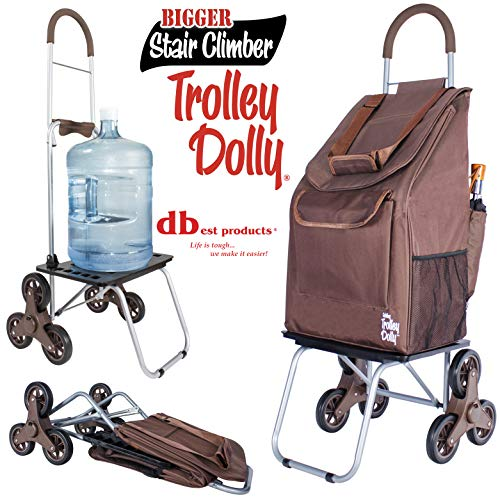 (dbest products Stair Climber Bigger Trolley Doll, Brown Shopping Grocery Foldable Cart Condo Apartment)