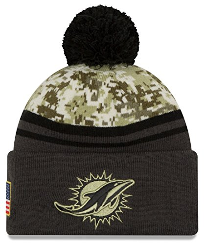 New Era 2016 Men's Salute to Service Knit Hat (One Size, Miami Dolphins) (Miami Dolphins Salute To Service Hat Mens)