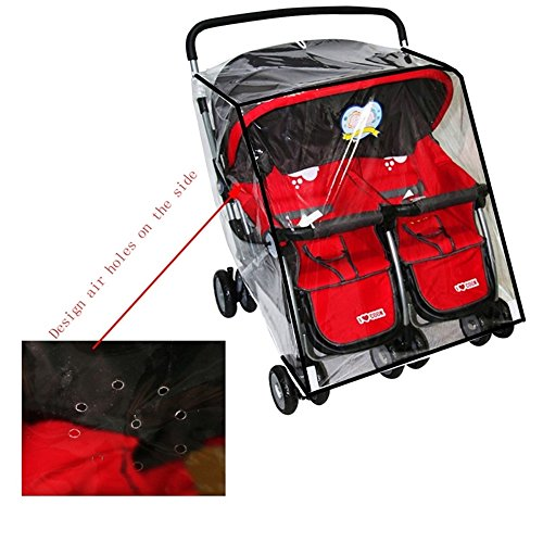 KarleksLiv Universal Waterproof Twins Baby stroller Rain Cover Side by side Double Pushchair dust proof cover Baby Carriage Pram Accessories Stroller Raincover by KarleksLiv (Image #3)