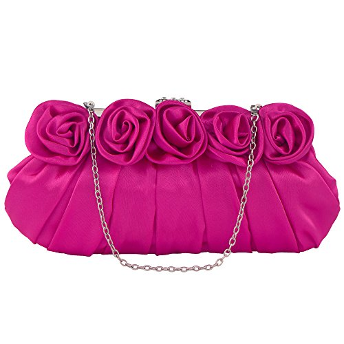 Bagood Purse With Satin Rose Evening Flower Handbag Rose Women's Clutch Wedding Party Rhinestones Bag Inlaid OgCy4Crc