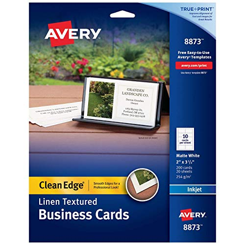 Avery Printable Business Cards, Inkjet Printers, 200 Cards, 2 x 3.5, Clean Edge, Heavyweight, Linen Textured (8873), White (Renewed)