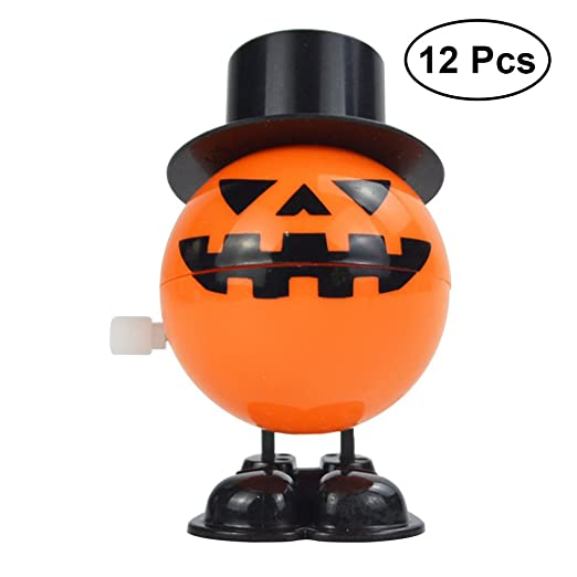 12pcs pumpkin head chattering teeth wind up toys halloween novelty plaything orange