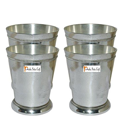 Beaded Glass Tumbler - Prisha India Craft Brass Silver Glass Tumbler, Beaded Mint Julep Design, Capacity 250 ML, Set of 4