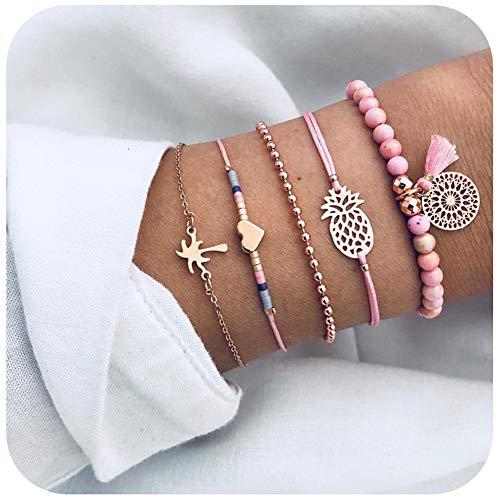 Unew Beaded Bracelets for Women - Adjustable Charm Pendent Stack Bracelets Set for Women Girl Friendship Gift Bracelet Links (Pineapple & Coconut Tree Bracelet)