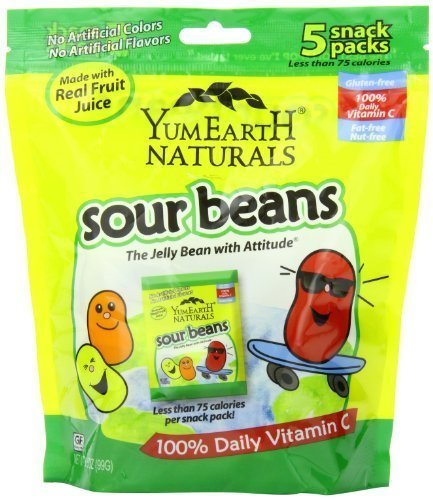 Yummy Earth Natural Sour Jelly Beans Snack 5 Count (Pack Of 12)