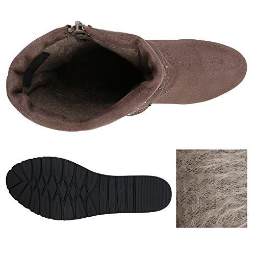 Stiefelparadies Damen Stiefeletten Keilabsatz Stulpen Boots Strass Keilstiefel Flandell Khaki Strass