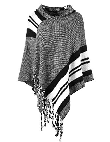 - Ferand Women's Hooded Knit Striped Cape Poncho Sweater with Fringes, One Size, White