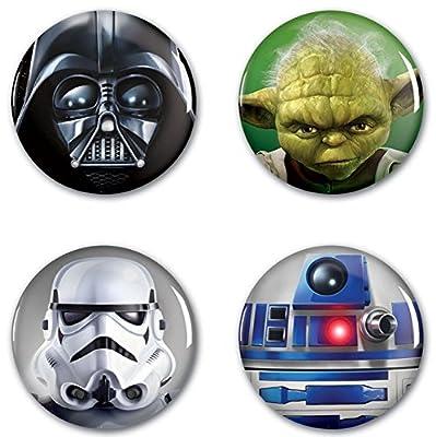 STAR WARS YODA, VADER, R2-D2 & STORMTROOPER 4 Pack BUTTONS