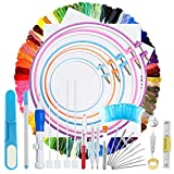 140 Pieces Embroidery Cross Stitching Punch Needle Kit, Full Range of Embroidery Starter Kit Including Magic Embroidery Pen Punch Needle, 5 Embroidery Hoops, 2 Cross Stitch Cloth, 100 Threads