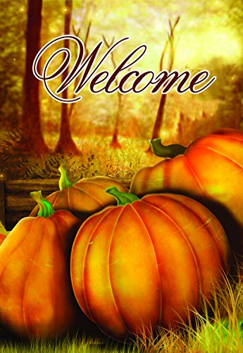 Lantern Hill House Flag Yard Decoration; 28 inches by 40 inches (Welcome Pumpkins) -