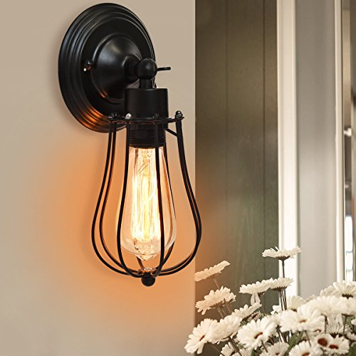Tangkula Wall Sconce Industrial Vintage Style Indoor Outdoor Wall Lamp Bar Loft Wire Cage with Bulb