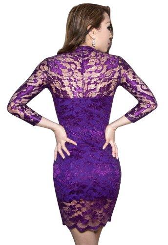 SODACODA Lace Short Dress - Sexy - 3/4 Sleeve Slim-Fit - V-neck - all colours and sizes Púrpura