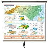 North Carolina Intermed. Thematic Wall Map w/ Roller & Backboard-Your choice wall or wipeboard/chalkboard mount.