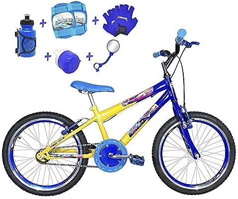 31dc9a6c6 Bicicleta Infantil Aro 20 Amarela Azul Kit E Roda Aero Azul C Acessórios e Kit  Proteção