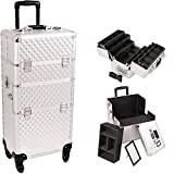 Sunrise Outdoor Travel Silver Diamond Trolley Makeup Case - I3461
