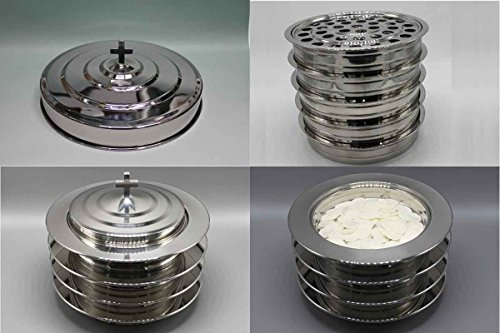 Silvertone   5 Stainless Steel Communion Trays With 1 Lid And 3 Bread Tray Set