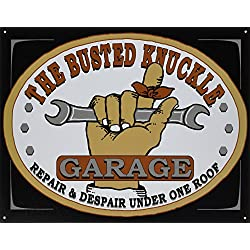 "Busted Knuckle Garage BKG-21 12"" X 16"" Rectangular BKG Tin Shop Sign"