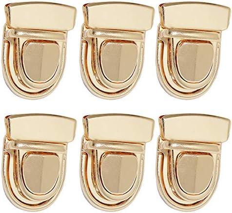 Nifocc Tuck Lock Clasp Catch Purse Thumb Lock Purse Buckle Fasteners Wallet Buckle Purse Metal Clasp Locks for DIY Craft Wallets Bag Leather Handbags Making Gold 6 Pcs