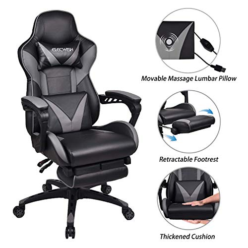 ELECWISH Massage Gaming Chair Grey,Ergonomic Office Gaming Chair for Computer with Footrest and Lumbar Support