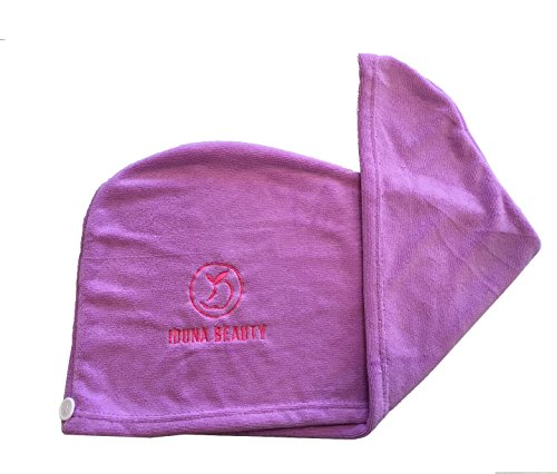 fiber - Hair Drying Towel/Turban - Extra Large Wrap With Button And Loop Closure - Lavender (Diva Dryer Hair Towel)