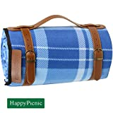 Extra Large Picnic Blanket, 79'' x 59'' Soft Fleece Rug with PU Carrier and Waterproof Backing, Light Weight and Portable Lawn Blanket for Beach or Camping Gift for Mothers Day