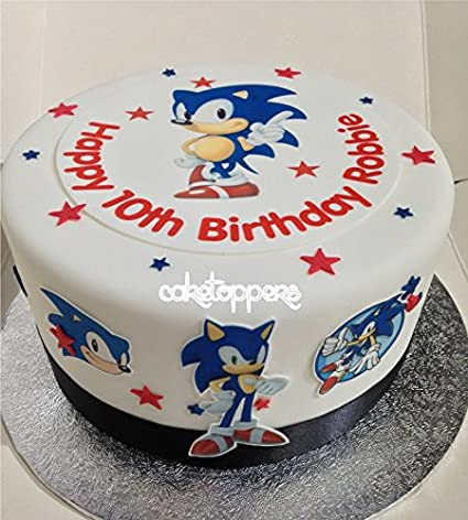Personalised Edible Sonic The Hedgehog Icing Cake Toppers Boys Birthday