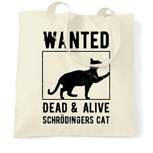 Wanted Dead And Alive Schrodingers Cat Poster Distressed Shopping Tote (The Poison Paradox)