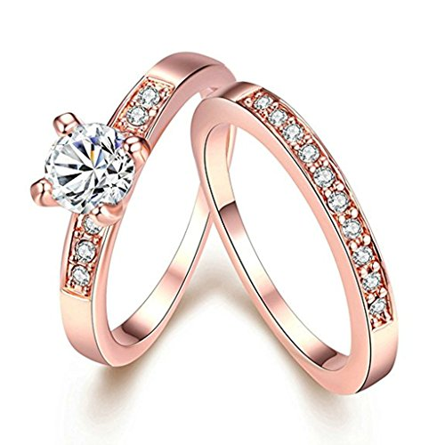 Aooaz Jewelry Promise Ring 18K Rose Gold Plated Ring Set Cubic Zirconia CZ Half Eternity Ring Bridal Ring ()