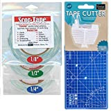 3 Rolls Scor-Tape Bundle 1/8', 1/4', 1/2', by 27 Yards Double Sided Adhesive, Scor-Tape Cutter and Pixiss Self Healing Mini Cutting Mat