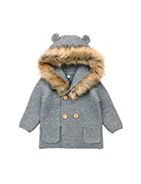 Mornyray Infant Baby Girl Knit Outerwear Sweater Cardigan Faux Fur Hood Outfit
